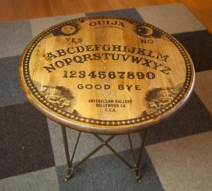 Round Ouija Table - Séance, Seance, Board, Spiritualist, Mystifying, Oracle, Talking, Occult, Fortune Telling, Halloween, Horror, Ghost, Creepy, Victorian, Era, Spirit, Planchette, Witchboard, Witch, Automatic, Writing, Witchcraft, Craft, Dead, Divining, Elijah Bond, Elijah H. Bond, Nirvana, Magic, Egyptian, Luck, Mysticism, Occultism, Pythagoras, Clairvoyance, ESP, Seers, Psychics, Captain Howdy, Channeling, Fuji, Alphabet, Ouija,