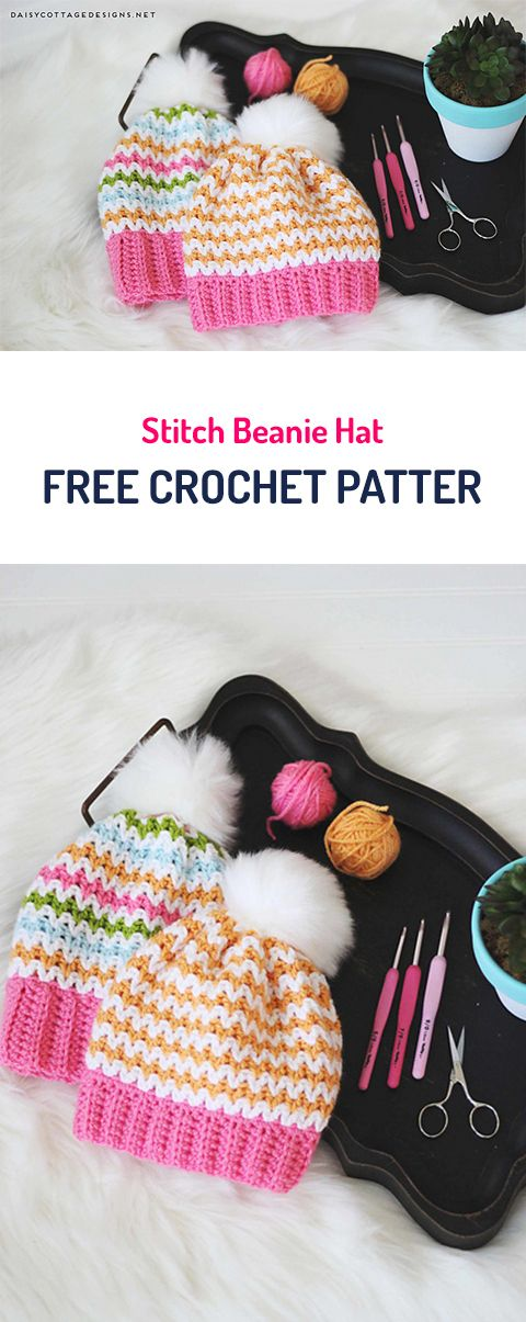 Stitch Beanie Hat Free Crochet Pattern #hat #winter #crochet #crafts #fashion #style