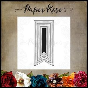 PAPER ROSE DIE Stitched Banners 5 piece - flags fishtail metal cutting dies