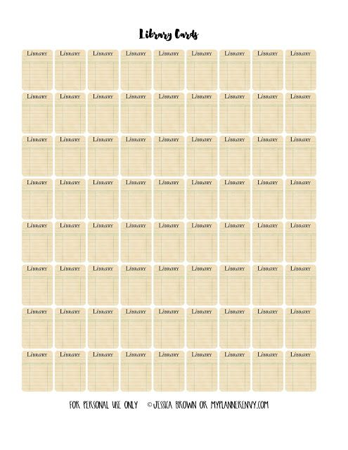 """Free Printable 1"""" Tall Library Cards from myplannerenvy.com"""