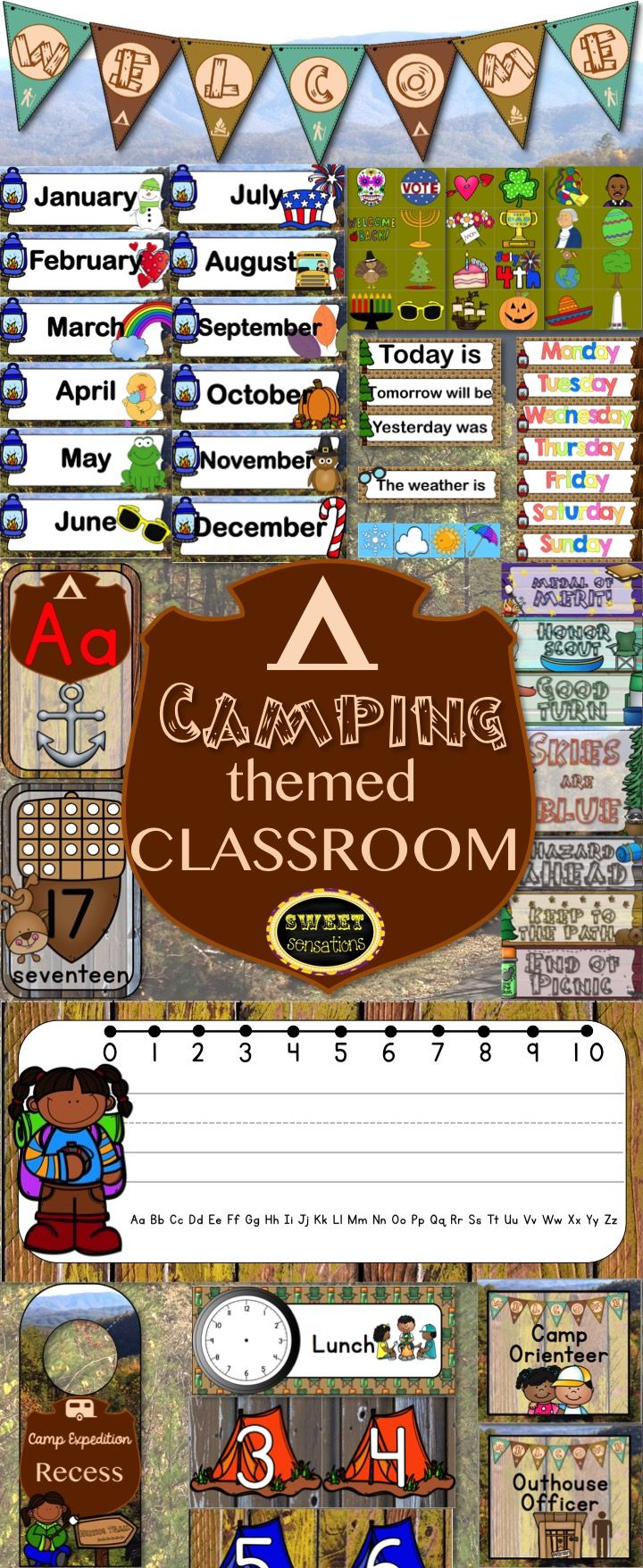 Camping classroom decor themed set. Perfect for a National Parks, forest, outdoor or woodland theme. Includes editable name tags, editable schedule cards, editable classroom jobs, calendar cover-ups, door hangers, number posters 1-20, alphabet and digraph posters, behavior/peg up/peg down cards and a welcome banner. All for $19.99!