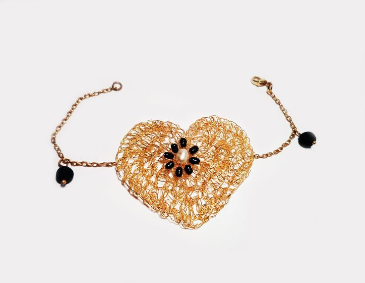 Black Queen Heart crocheted brass wire gold plated 18K by Algo Elegante  https://www.facebook.com/algo.elegante