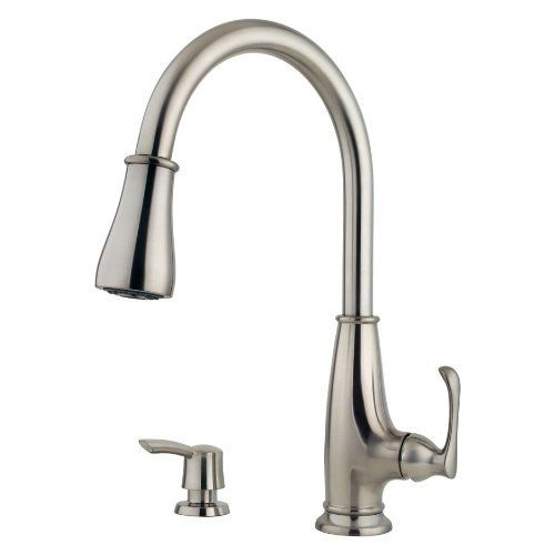 Pfister Ainsley 1 Handle Pull Down Kitchen Faucet With Soap Dispenser,  Stainless Steel