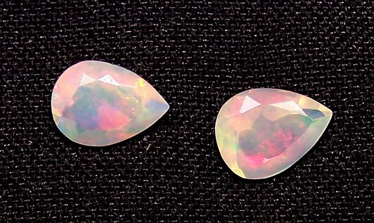 Insane Rainbow Fire Ethiopian Opal Faceted Pear 7 x 9 MM Loose Gems Pair > AAA