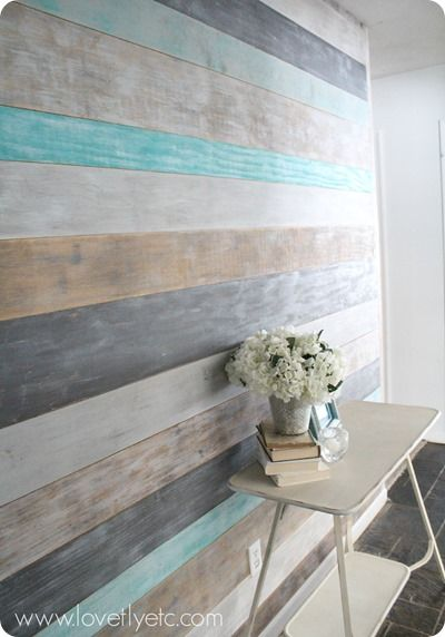 plank wall in entry - using General Finishes Milk Paint added stain - see adjacent Pin -Snow White, Seagull Gray, Driftwood, and Patina Green