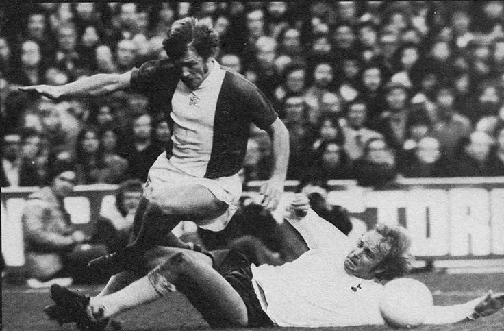 23rd November 1974. Birmingham City winger Graham Taylor getting clattered by Tottenham Hotspur defender Phil Beal, at White Hart Lane.