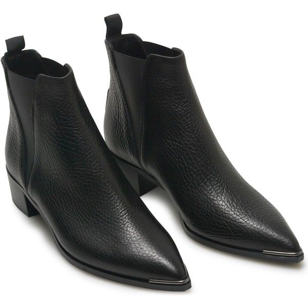 JENSEN BOOT BLACK GRAIN LEATHER Acne Studios (€430) ❤ liked on Polyvore featuring shoes, boots, pointed toe chelsea boots, black boots, kohl shoes, beatle boots and chelsea bootie