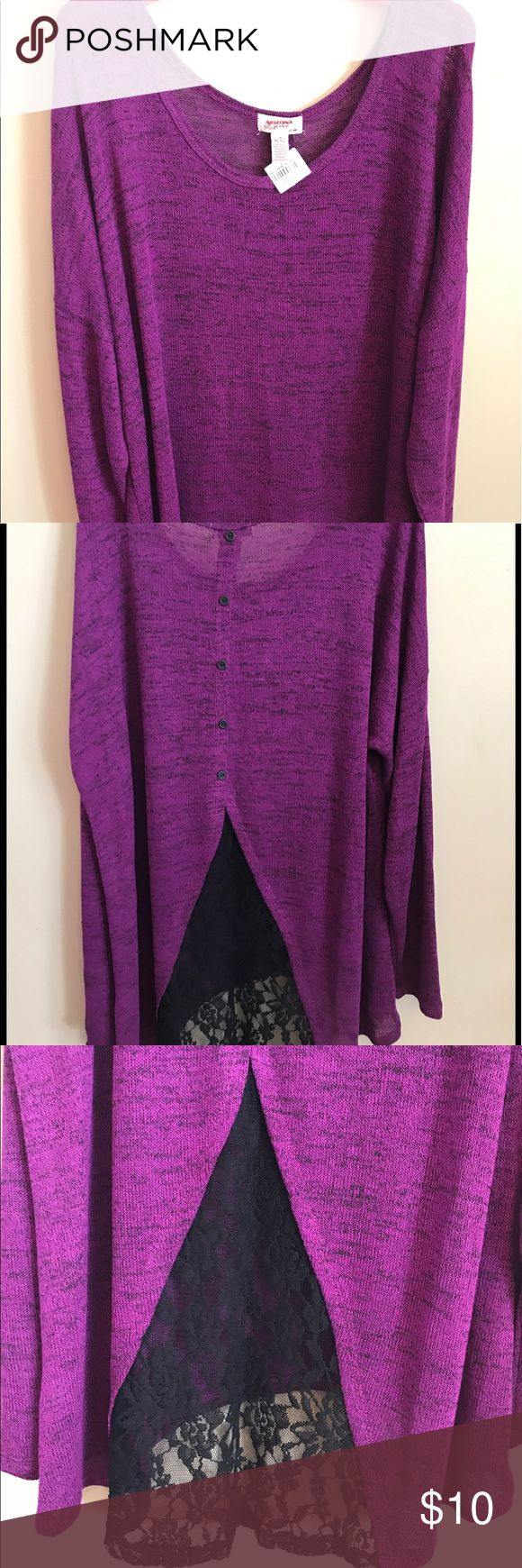 Arizona Women's Sweater with Black Lace Detail This lightweight sweater is dark purple with black lace and button detail on back. NWT. Flowy. Arizona Jean Company Sweaters Crew & Scoop Necks