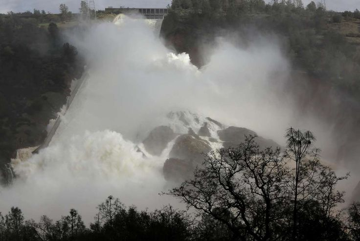 Dramatic new images show scale of damage to Oroville Dam spillway -  February 28, 2017:    Water is released over the Lake Oroville spillway on Friday Feb. 10, 2017., in Oroville, Ca.