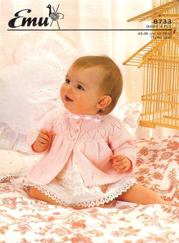 Vintage PDF Knitting Baby Patterns - Emu 8733 4ply Matinee jacket 17and 19ins