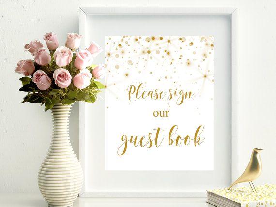 SALE 60% Guest Book printable wedding sign. Gold wedding