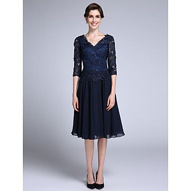2017 Lanting Bride® Sheath / Column Mother of the Bride Dress Knee-length Half Sleeve Chiffon / Lace with Lace – USD $ 89.99