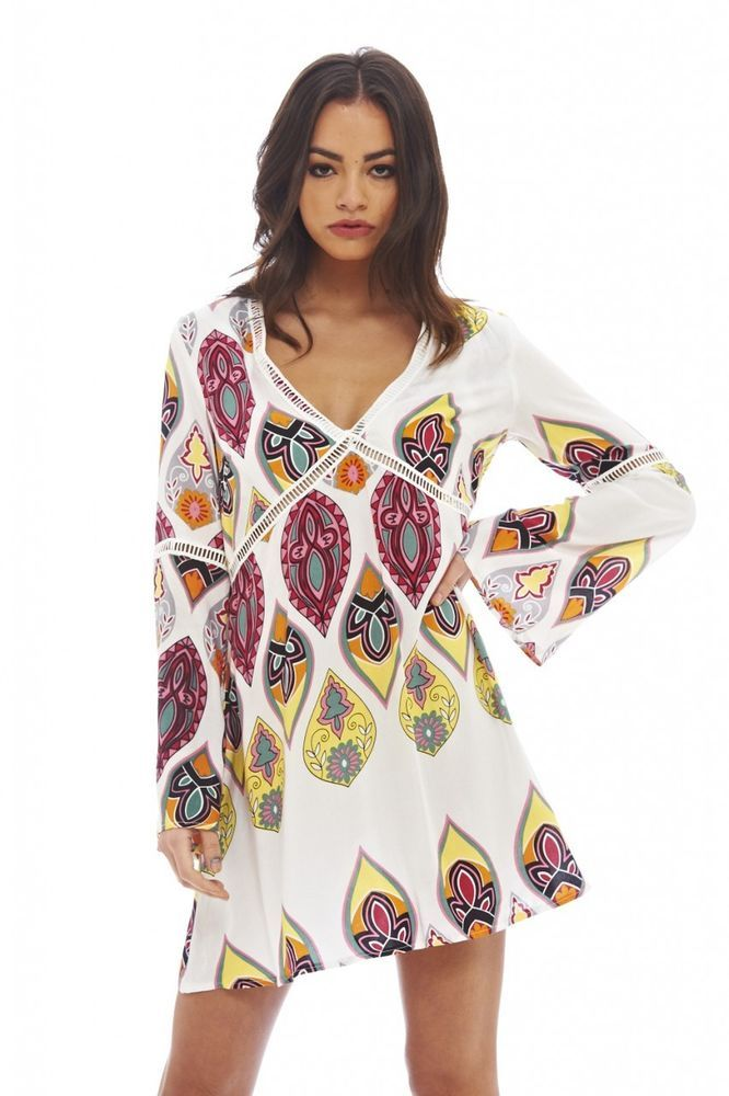 AX Paris Womens Tribal Printed Swing Dress Glamorous Stylish Fashion