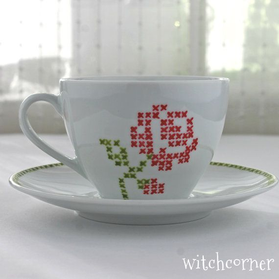 Hand Painted Porcelain Cup with Saucer, Cross Stitch Rose Design, Cappuccino cup, Tea Mug, Coffee Mug, Gift Idea for Tea & Coffee lovers