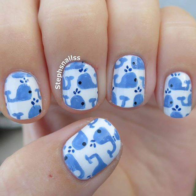 Instagram media by stephsnailss - Whale nails!