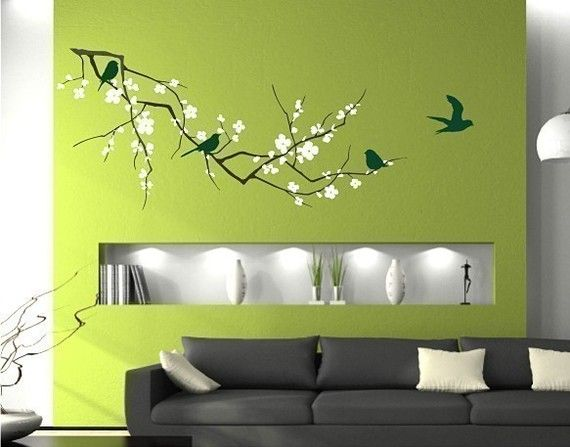 Tree Wall Decal Cherry Blossom Branch  3 by singlestonestudios #limegreen #green #decal trees