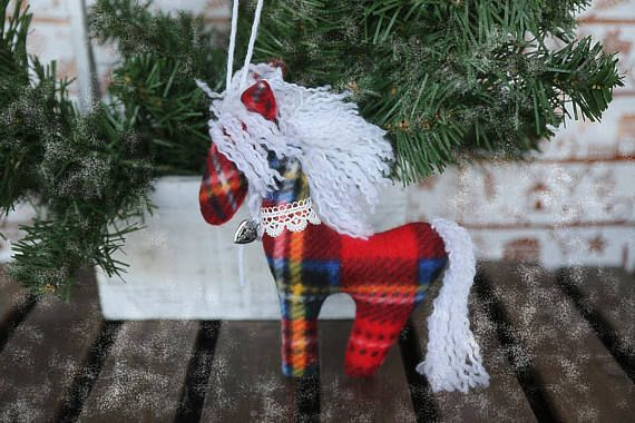New year tree hanging ornaments horse. Soft fabric hanging
