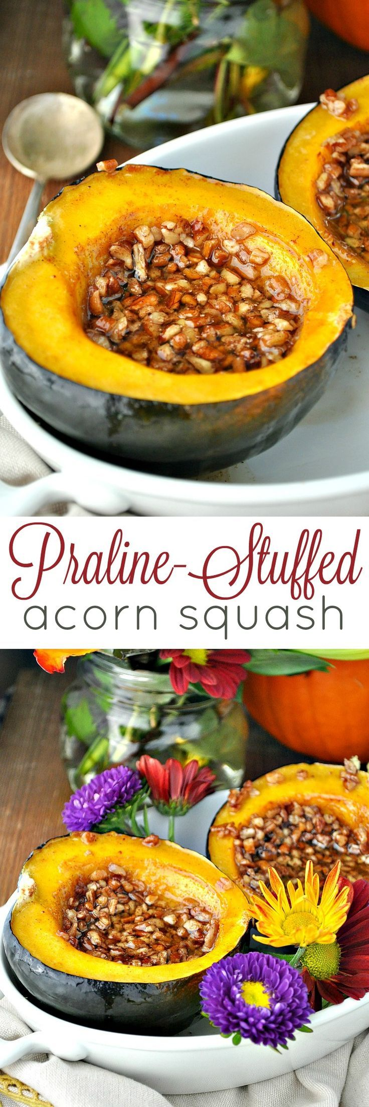 For a gorgeous, indulgent, and incredibly EASY Thanksgiving side dish, serve this PRALINE-STUFFED ACORN SQUASH!