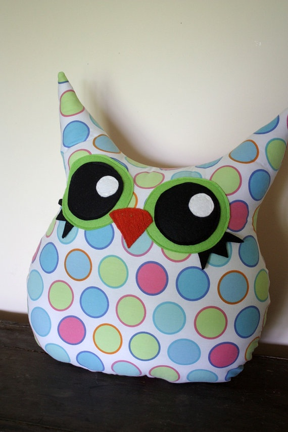 An owl plush polka-dot pillow is cuddly cute! @Danielle Lampert Lampert Carroll Like this?