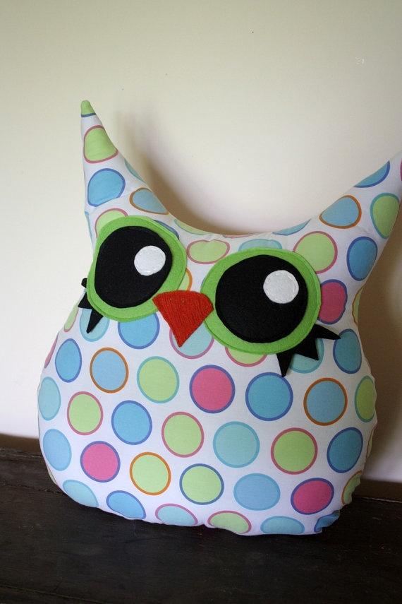 An owl plush polka-dot pillow is cuddly cute! @Danielle Lampert Lampert Carroll Like this?