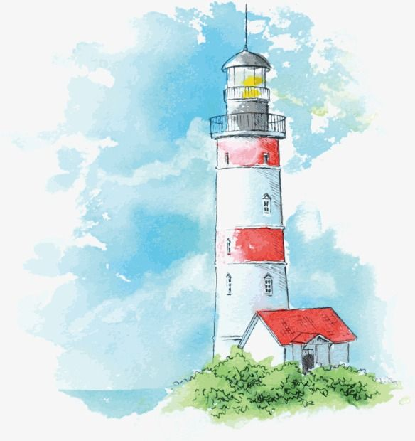 Watercolor Hand Painted Color Illustration Illustration Landscape Sky Sea Lighthouse Backgro Watercolor Landscape Lighthouse Painting Watercolor Paintings Easy