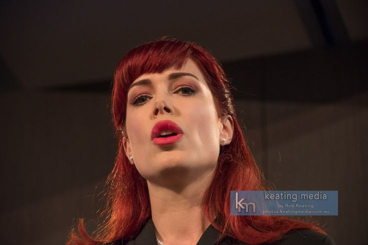 Photos of Tara Moss as she addresses the National Press Club of Australia about Cyberhate