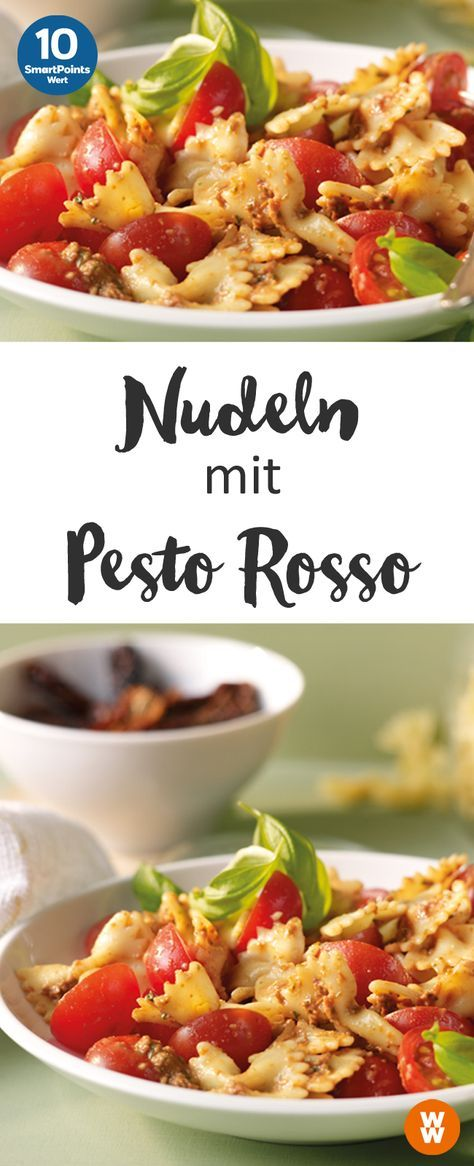 Nudeln mit Pesto Rosso, Hauptgericht, Abendessen, Pasta, vegetarisch | Weight Watchers