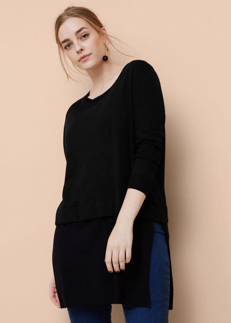 Camisola comprida algodão - Cardigans e camisolas Tamanhos grandes | Violeta by MANGO Portugal
