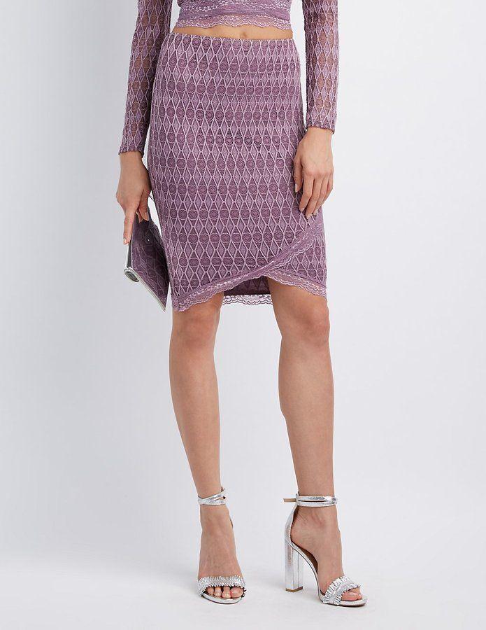 Charlotte Russe Lace-Trim Bodycon Midi Skirt