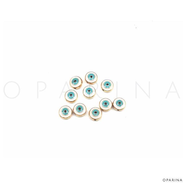 Ojos Esmaltados 10mm. #oparina #evileye #turkisheye #ojoturco #diy #jewelryfindings #boho #gypsy   #madewithstudio