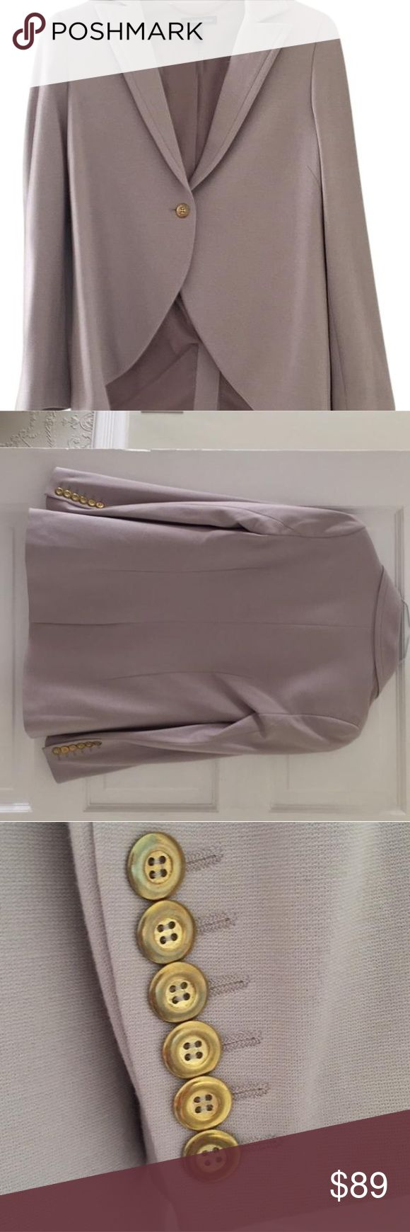 Isabella Oliver maternity blazer like new Maternity blazer in a lively greyish/ lilac color (to my eye). Brass buttons. No tags but never worn.  It is a size 1 - see the sizing chart from the designer's website (photo attached) - equivalent to a US size 4. Isabella Oliver Jackets & Coats Blazers