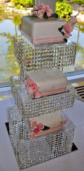 Blinged out cake stand so the cake can be more simple! Brilliant idea