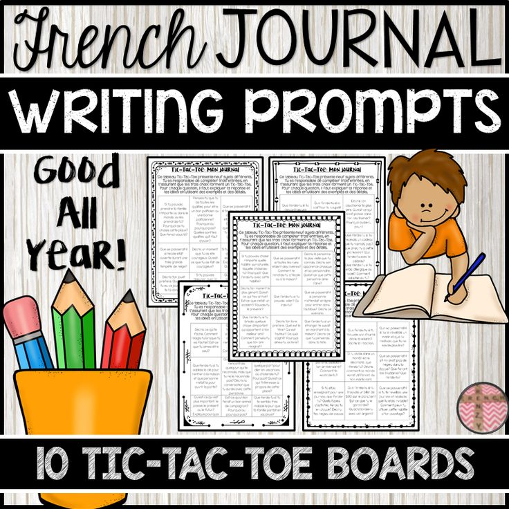 This product includes 10 French Tic-Tac-Toe choice boards for journal writing. Each choice board has 9 different journal writing topics in French, for a total of 90 journal prompts. Students must choose three topics from each choice board, provided that the three topics they choose form a Tic-Tac-Toe. If you do one choice board per month (3 journal entries), you will have enough for the whole year.