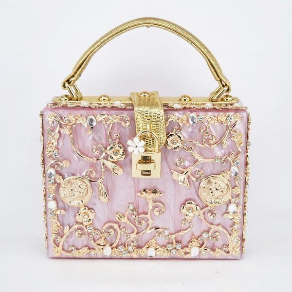 Floral Detailed Handbag Rose Gold Pink With Gold Details