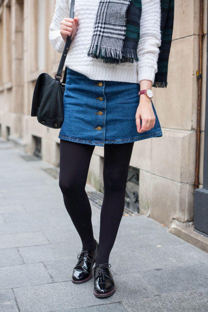 a-line denim skirt, patent brogues