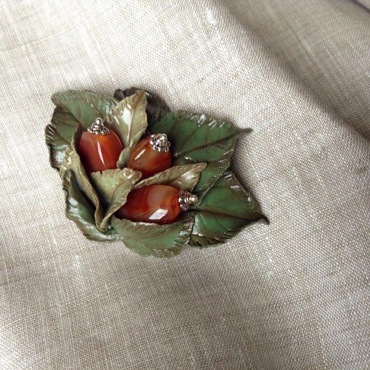 Polymer clay brooch. Брошь. Полимерная глина и сердолик. Ручная работа.