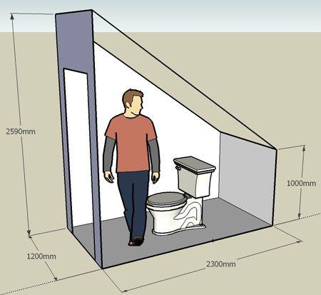 Планировка туалета под лестницей
