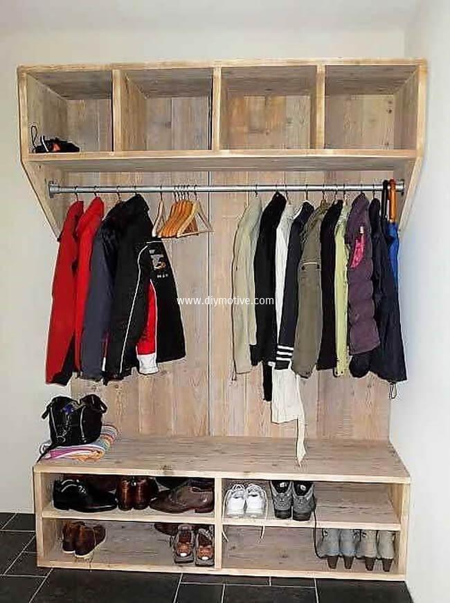 pallet clothes hanger and shoe rack | Pallet furniture, Furniture