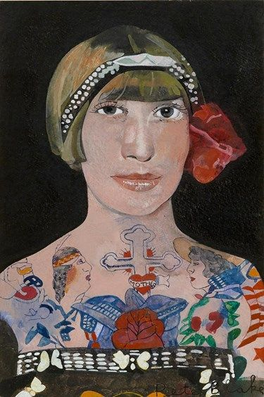 Peter-Blake,-Tattooed-Woman-2,-2015,-watercolour,-