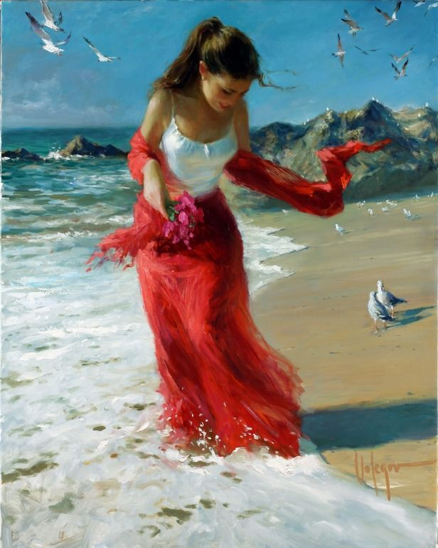 Red Scarf. Oil painting by Vladimir Volegov  (available from Saatchi Online)
