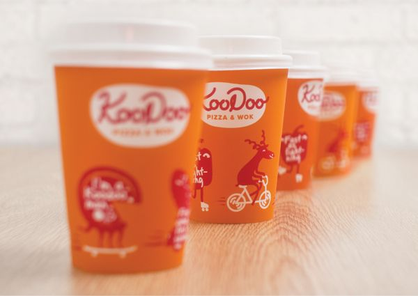 Koodoo Pizza and Wok restaurant coffee cup design and takeout packaging / www.gritsandgrids.com