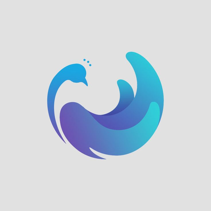 Peacock Logo - cool negative space but also use of gradients to define other shapes.