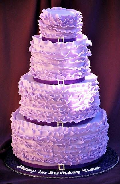 Purple  Cake Ideas | ... food,cake ideas for the girls etc / Very Pretty Purple ruffle cake