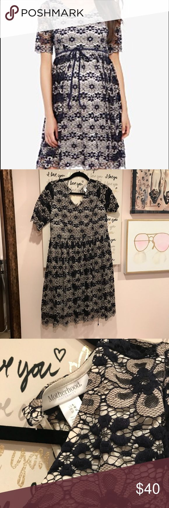 Motherhood Maternity Navy and Cream Lace Dress Brand new!  I bought this to wear to a wedding, but wound up wearing something else.  Never worn.  Tags removed. 17 inches pit to pit; waist is 17 inches lying flat; 24 inches waist to hem Motherhood Maternity Dresses