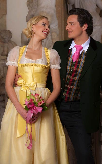 Country wedding dress. Lanz Brautdirndl gelb