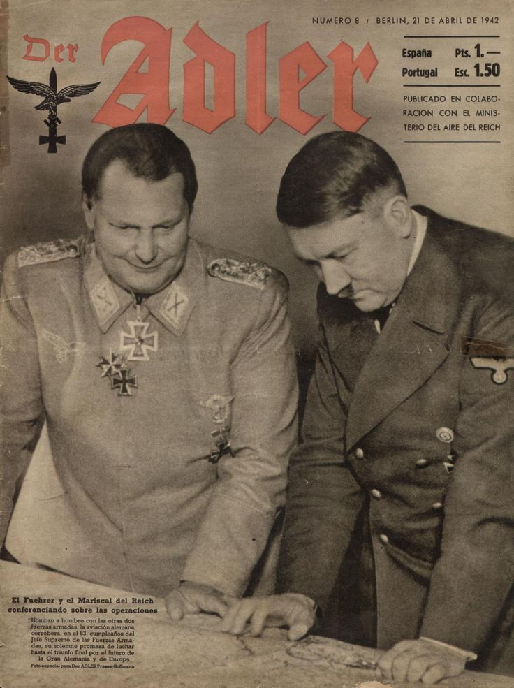 from Der Adler, Número 8, Abril 1942 - featuring Hitler and Mussolini