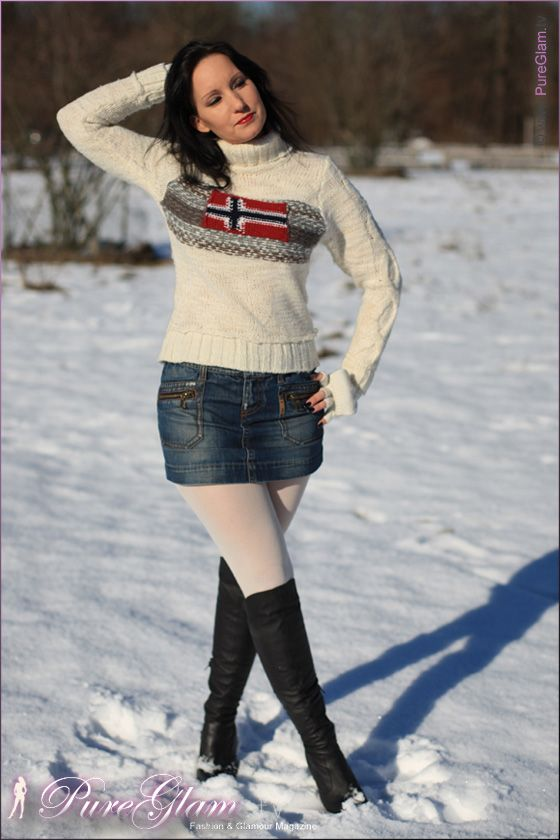 Winter look – Napapijri Sweater with GAS denim miniskirt and white tights and boots
