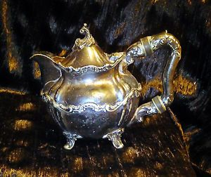 Antique Reed & Barton Ornate Silver Soldered Coffee Tea Pot HOTEL STAFFORD