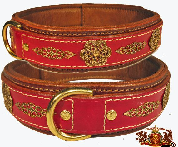 The Duchess Collar; Brown latigo leather overlay with Spanish flower, and brass filigree. Outer leather layer is 1.75 inches in an oxblood dye. Oil