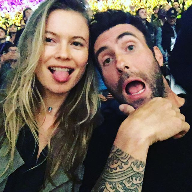 Pin for Later: 17 Celebrities Who Cheered On Kobe Bryant at His Last Lakers Game Behati Prinsloo and Adam Levine